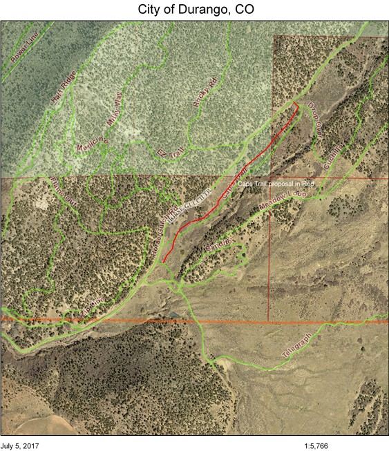 The Caps Trail reroute, laid out in red.