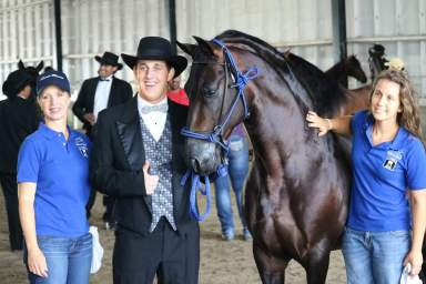Michael Cindi ans Brooke Gascon in the warm up arena at Paso Fino Nationals with movie star Paso Fino TITO