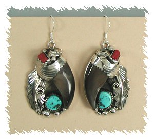 Elaine Sam Navajo Bear Claw Earrings Sterling Silver Wire