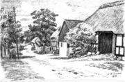 Gadeparti fra Meldrup Gaardene ligger paa nordsiden af vejen 1950..jpg