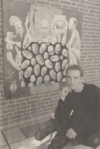 Et selvportræt i den barskere afdeling er et af Martin Lundmes seneste malerier. Det kan sammen med 11 andre oliemalerier opleves på rådhuset i Horsens. Foto: Lene Sørensen