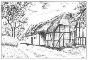 Henriksens gård i gl. dage, Bygaden 86. Tegning af Håkon Bang.