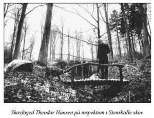 Skovfoged Theodor Hansen på inspektion i Stensballe skov. Tidligere bragt i Persillekræmmeren nr. 80, 2011