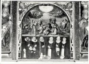 Del af Anna Svane og Hans Olufsen Ribers epitafium over deres familie, hvoraf familien ses. Epitafiet er stadig at finde i Horsens Klosterkirke i dag.