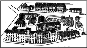 Østergaards Frøavl før branden. Tegning ca. 1940.