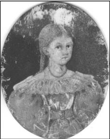 Portrættet viser den 10 årige Mette Johanne Matiasen (Matiasdatter), der i 1832 blev malet af en ukendt maler. Mette var datter af Mads Matiasen, der var husfæste og gartner på Stensballegaard