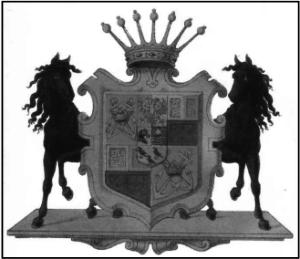 Våbenskjold for familien Krag-Juel-Vind-Arenfeldt. Danmarks Adels Aarbog 1886 (Anders Thiset d. 1917).