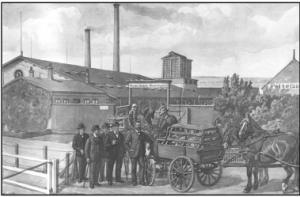 Peder Jørgensen opnåede at se Danmarks første andelssvineslagteri etableret. Det var Horsens Andels Svineslagteri oprettet i 1886, hvortil han selv var leverandør. Mælken gik til det private mejeri på Serridslevgaard. Akvarel af Rasmus Christiansen (1863-1940).
