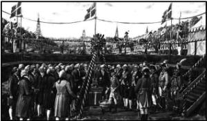 Grundstensnedlæggelse i 1792 til Frihedsstøtten på Vesterbro, København. Akvarel af Rasmus Christiansen (1863-1940).