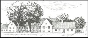 Tegning af Serridslevgaard. Sidefløjene er opført i 1937. Avlsgården er genopført efter en brand i 1949.
