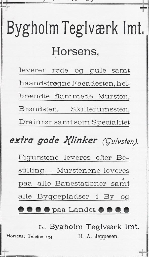 Bygholm Teglværk annonce