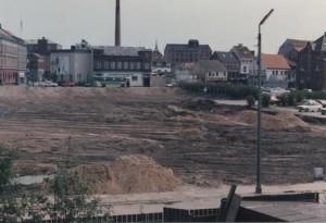 Pladsen mellem daværende Houmannsgade og Hestedamsgade – stedet kaldes nu Svaneshave. I midten af billedet ses Horsens Andelsmejeri, Hestedamsgade 30. B1410.