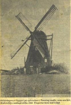 Tønning Mølle blev nedlagt ca. 1968. Billedet stammer fra: http://www.abostergaard.dk/arne/Tonnings_historie.html