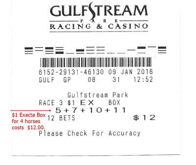 Exacta Ticket For A 1 Bet Horse Racing Betting Knowledge