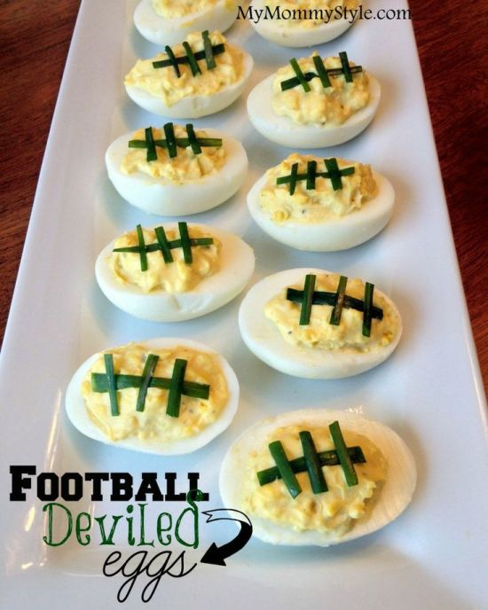 Football Deviled Eggs (photo courtesy of My Mommy Style)