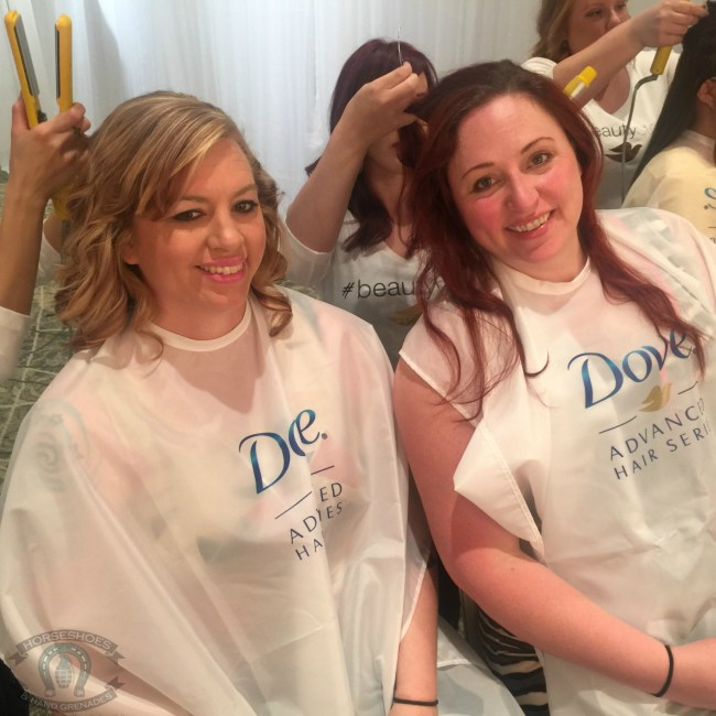 Heather and I getting a little pampering courtesy of Dove.