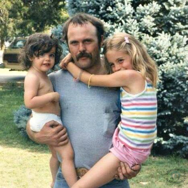 """Hello 80's! This is me, my """"adopted"""" dad and my sister - I've never thought of him as anything but my dad -- the adoption part is just a technicality."""