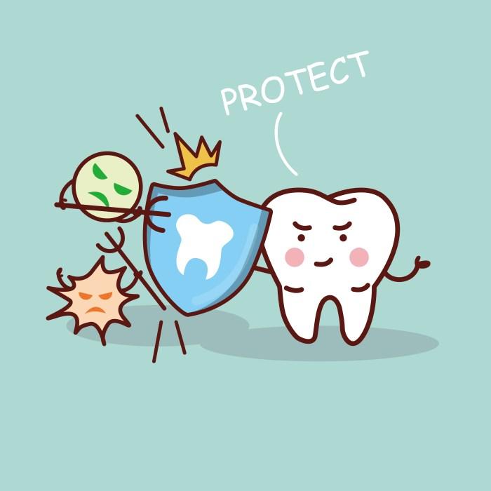 health cartoon tooth with shield