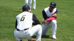 Coach Lino Diaz and Gleyber Torres