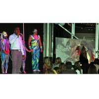 Left: Ki-Juan Minors with Cirque Vertigo troupe in background. Right: Artist Josee Nadeau.