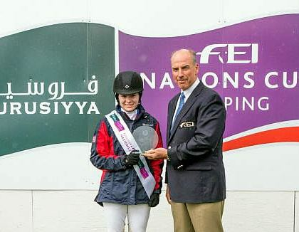 Katie Dinan, Winner of the Furusiyya Rider of the Day Award at the CSIO5* Spruce Meadows