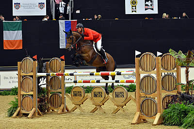 Francois Mathy Perfect in Double H Farm $100,000 International Open Jumpers at Alltech National Horse Show
