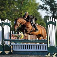 ©ESI Photography. Dudley Mac Farlane and All Carolina jump to a win in the $1,500 Platinum Performance Hunter Prix