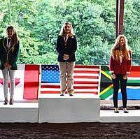 Anne Pateman (center), Five-Gaited Section Individual Gold medalist (Erin DesNoyers)