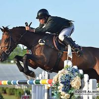 Vale and Acolina R sail over an oxer.