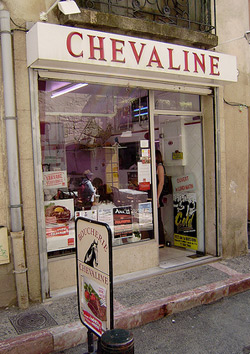 A butcher shop specializing in horse meat in Pezenas, Languedoc, France. (Wikipedia)