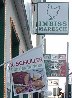 Fast food shop selling horse Leberkäse (Pferdeleberkäse) in Vienna. (Wikipedia)