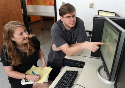 Graduate students Cassandra Koontz and John Roseberry.