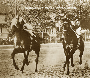 Seabiscuit and War Admiral in the Pimlico Special in 1938.