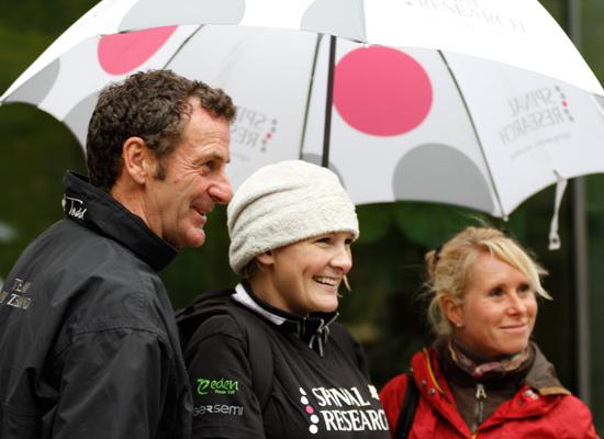Mark Todd and Bettina Hoy with Claire Lomas.