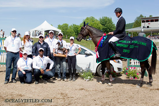 Jonathan Holling of the US won the Volvo Bromont CCI3* Three Day Event, The Todd Sandler Challenge, with Downtown Harrison.  Representatives of title sponsor Volvo Canada presented Holling with the Todd Sandler Trophy.