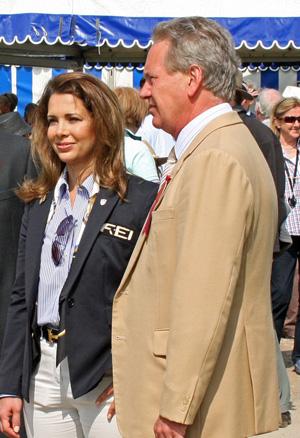 Hugh Thomas, pictured with FEI president Princess Haya at Badminton last year.