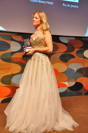 Dutch Dressage rider Adelinde Cornelissen receiving the 2011 Reem Acra Best Athlete Award at the FEI Awards ceremony at the Copacabana Hotel, Rio de Janeiro.
