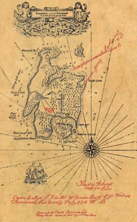 Treasure map dated 1750 from Robert Louis Stevenson's Treasure Island.