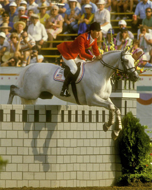 Conrad Holmfeld and Abdullah on their way to individual silver and team gold for the USA in 1984.