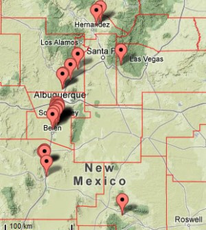 Map showing cases of VS in New Mexico.
