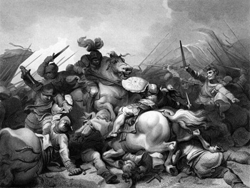 Engraving by Philip James de Loutherbourg,  The Battle of Bosworth.