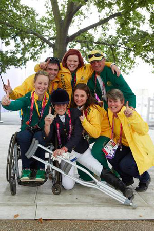 Team Aussie: Joann Formosa and her support crew celebrate.