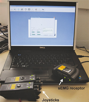 Myovision® sEMG device.  The 2 joysticks are on both sides of the spine, and data are recorded via the receptor linked to the computer.