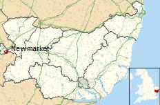 Newmarket shown within Suffolk in Britain.