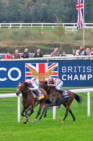 Frankel gets the better of Cirrus Des Aigles in the Champion Stakes at Ascot.