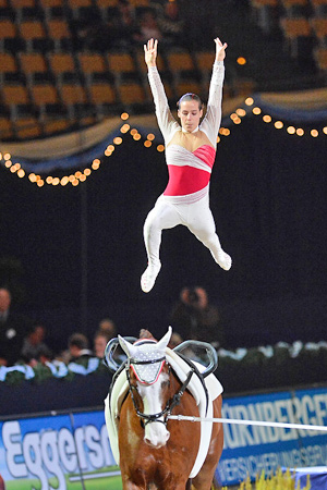 Italy's Anna Anna Cavallaro was the best female vaulter at the opening leg of the FEI World Cup™ Vaulting held in Munich (GER).