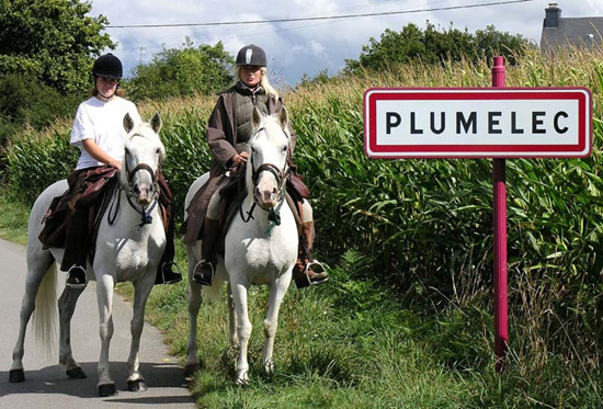 Caravan of Hope riders on the outskirts of the town of Plumelec in Brittany in France.