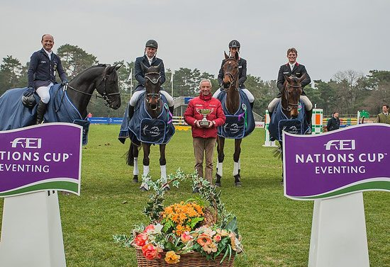 The successful German team after the opening leg of the FEI Nations Cup in Fontainebleau, France. L-R: Michael Jung on Leopin FST, Andreas Dibowski on Butts Leon, Team Coach Hans Melzer, Dirk Schrade on King Artus and Frank Ostholt on Little Paint.