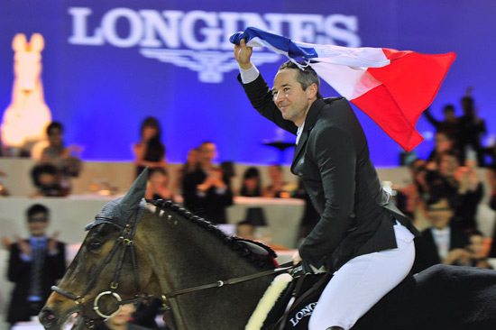 Patrice Delaveau and Lacrimoso 3 HDC, winner of the Longines Grand Prix in Hong Kong this week.