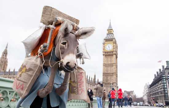 The ultra-realistic donkey costume was created for the charity by acclaimed model maker Jonathan Saville, whose credits include Jim Henson's Creature Shop and Spitting Image.